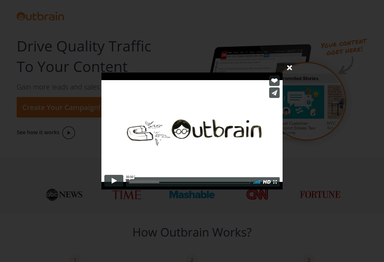 Outbrain landing page video popup