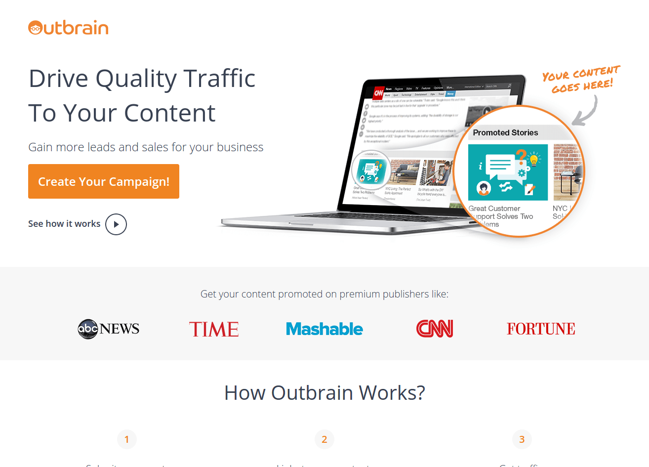 Outbrain landing page above the fold