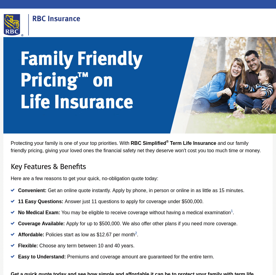 RBC landing page above the fold