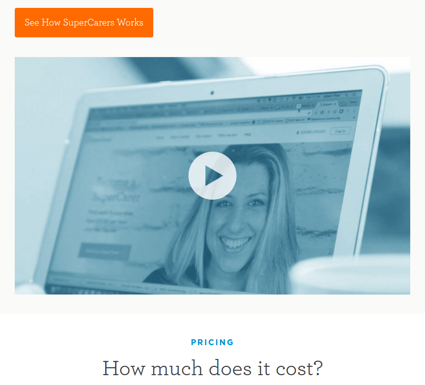 Supercarers landing page video