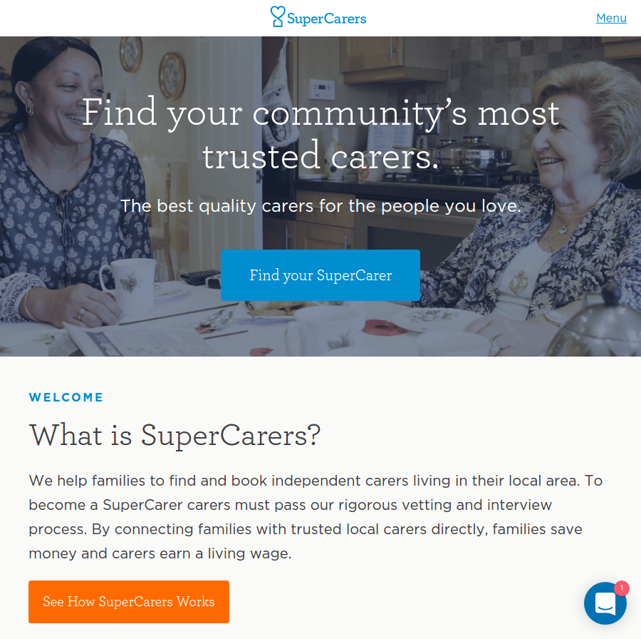 Supercarers landing page above the fold