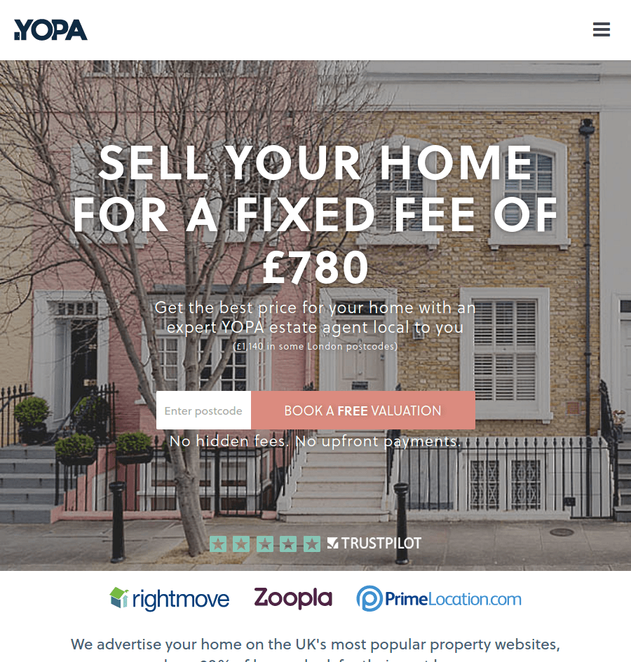 YOPA landing page above the fold