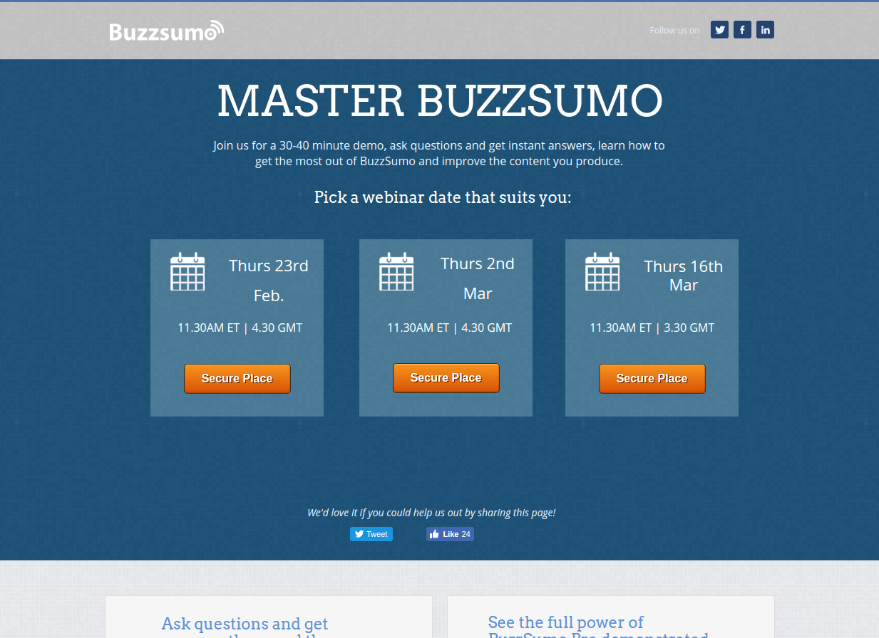 buzzsumo webinar landing page above the fold