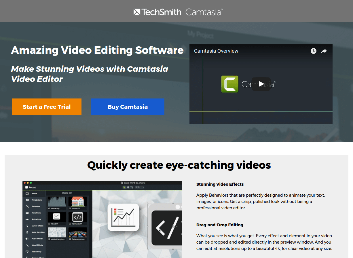 camtasia landing page above the fold