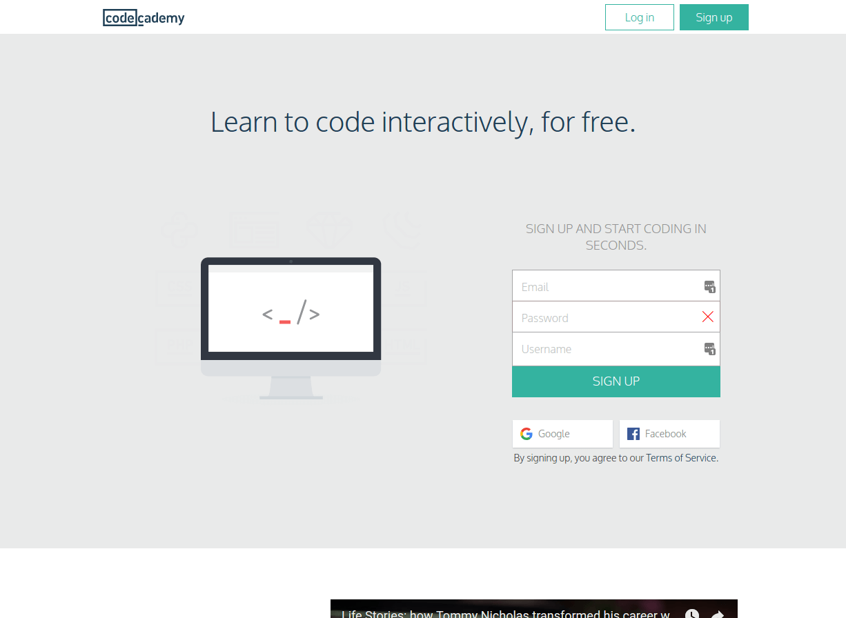 codecademy landing page above the fold