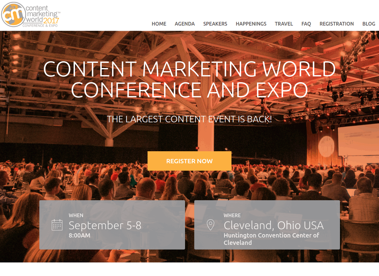 content marketing world conference landing page above the fold