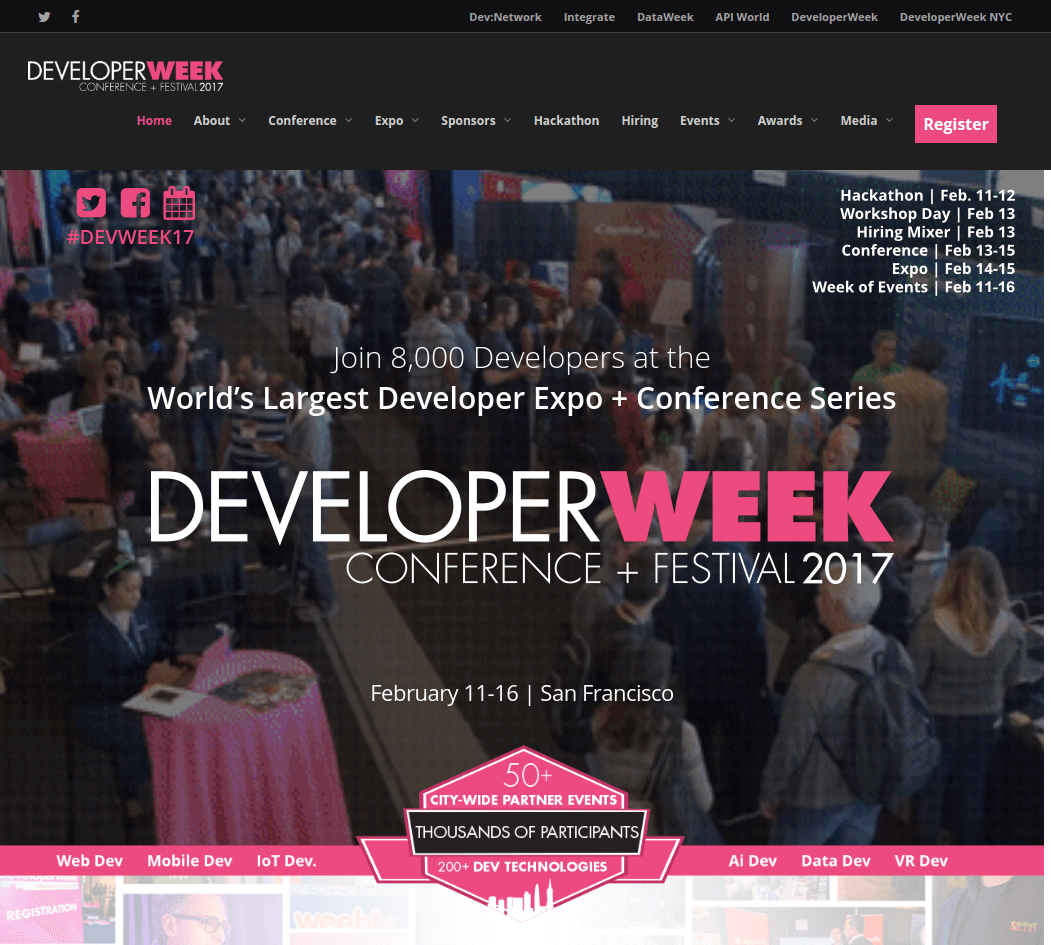 developerweek landing page above the fold
