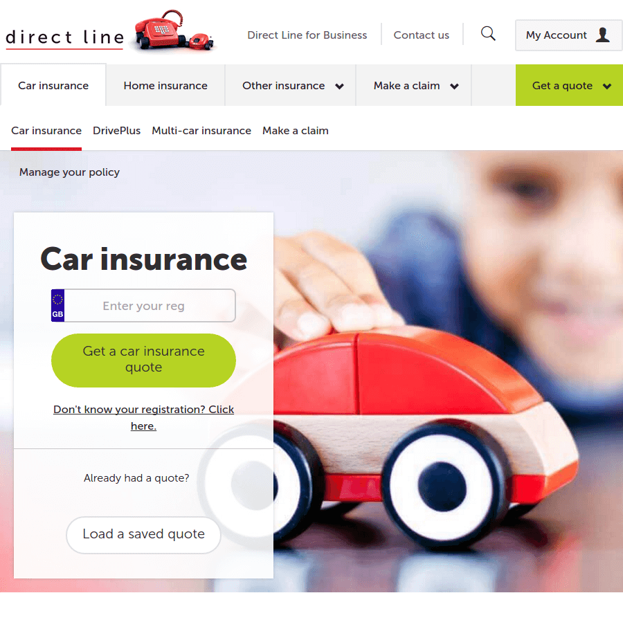 Direct line landing page above the fold