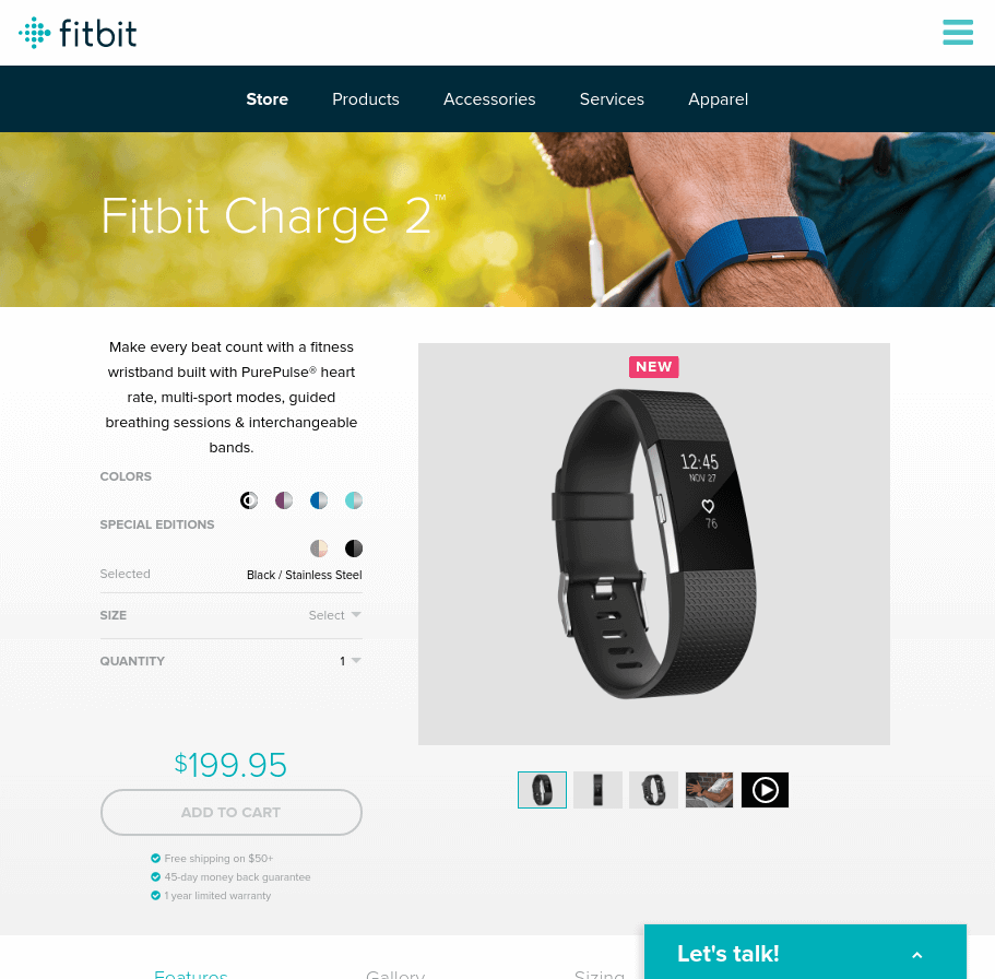 fitbit landing page above the fold