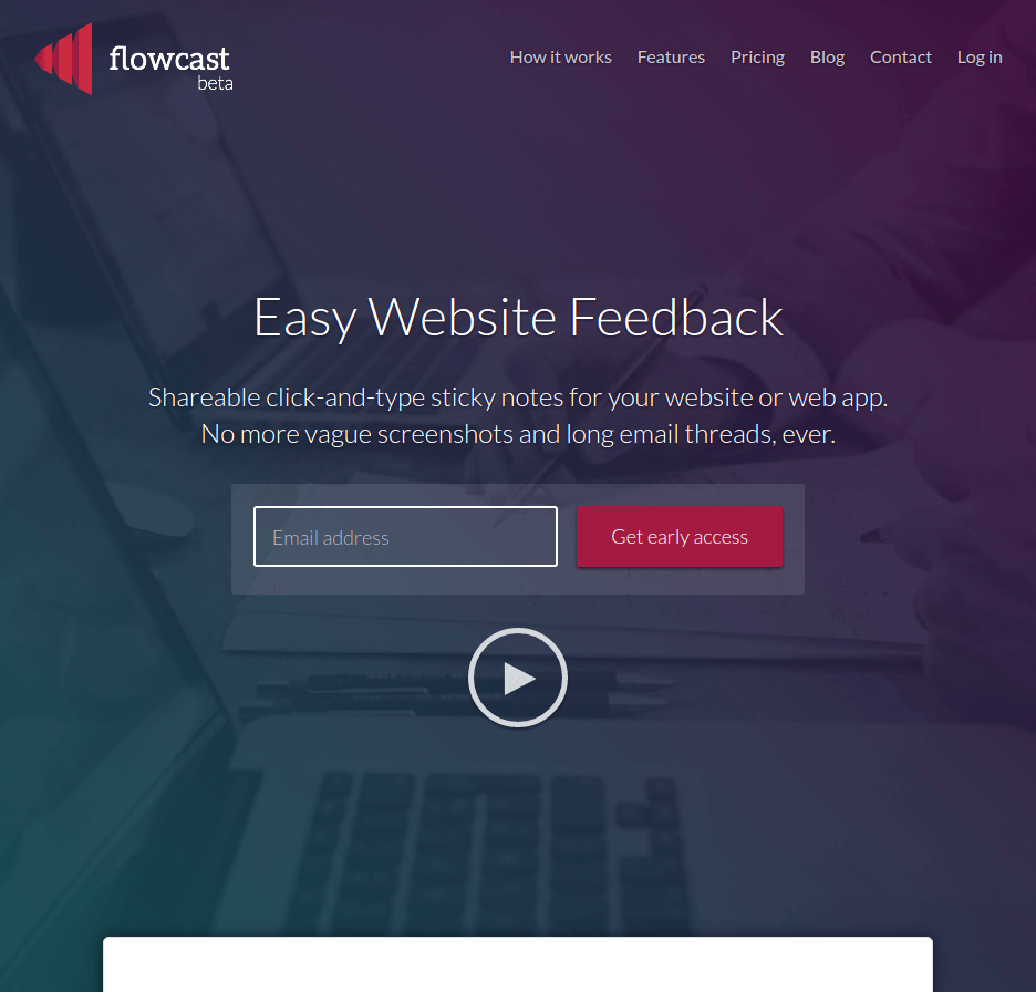flowcast landing page above the fold