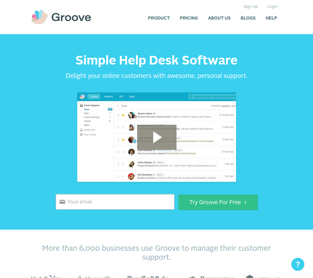 groove landing page above the fold