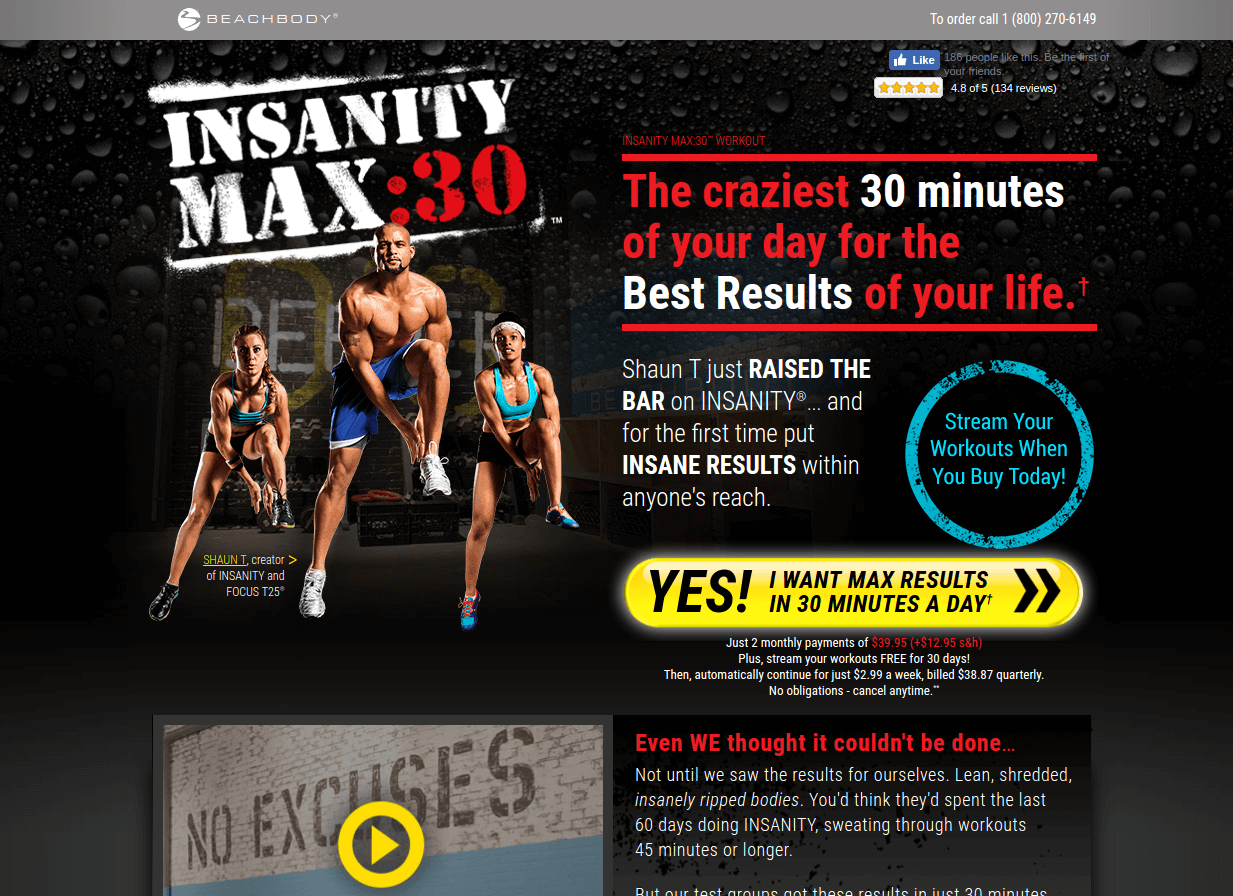 insanity landing page above the fold
