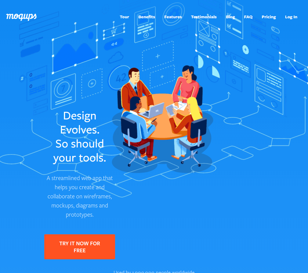 moqups landing page above the fold