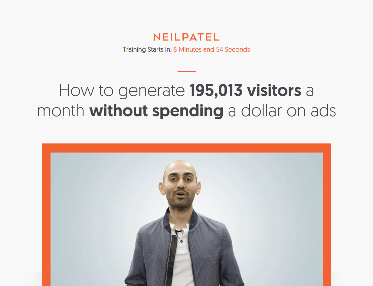 neil patel webinar landing page above the fold