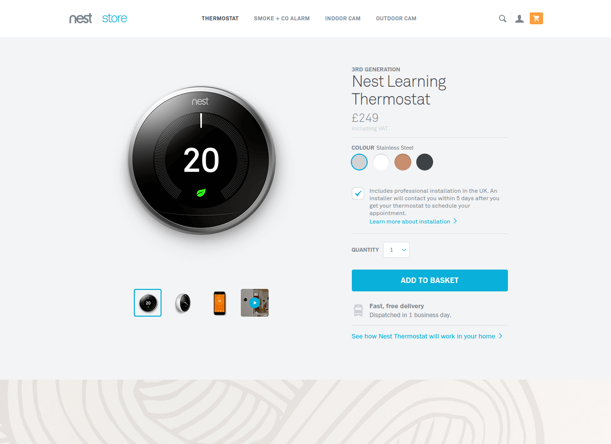 nest thermostat landing page above the fold