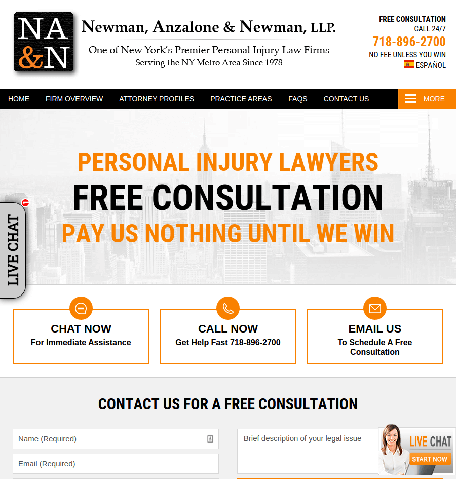 newman law landing page above the fold