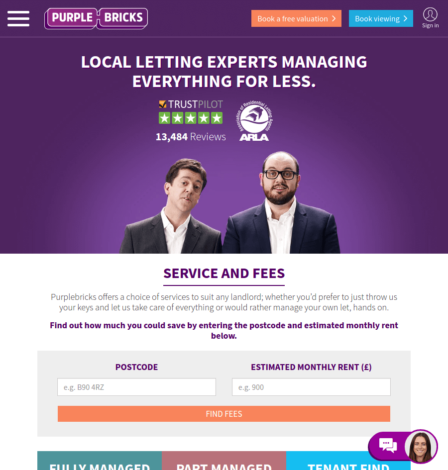 Purple Bricks landing page above the fold