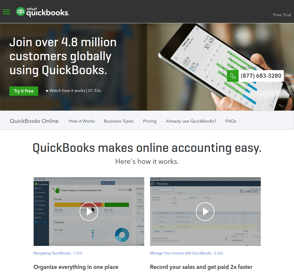 quickbooks landing page above the fold