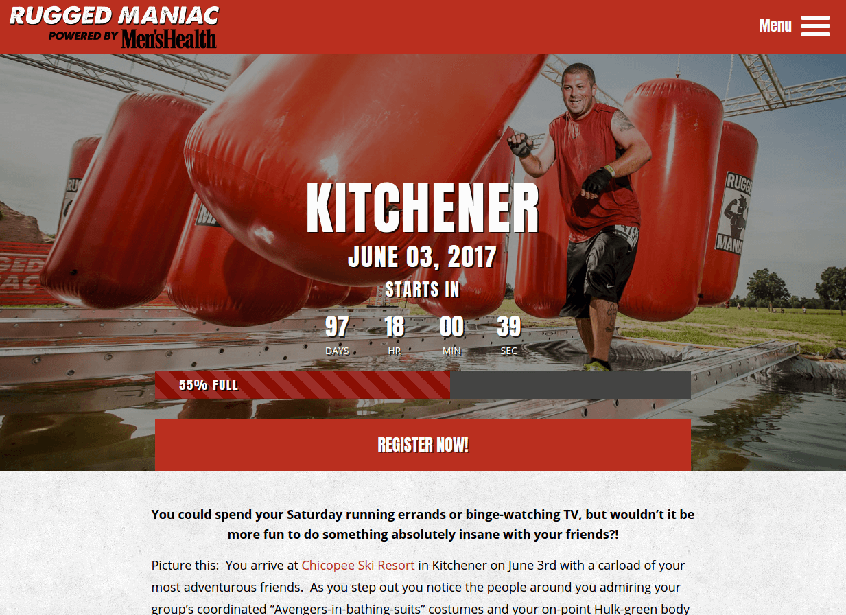 rugged maniac event landing page above the fold