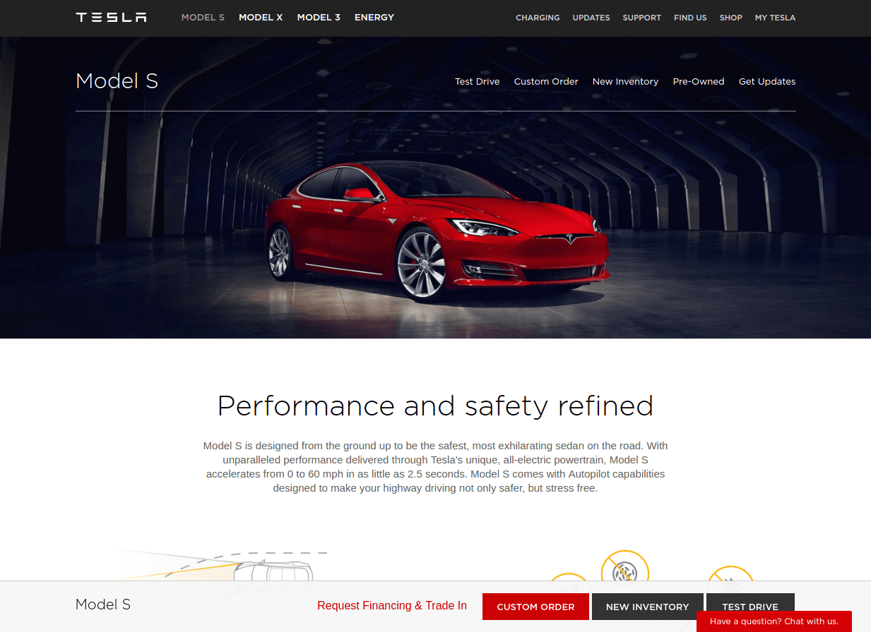 tesla landing page above the fold
