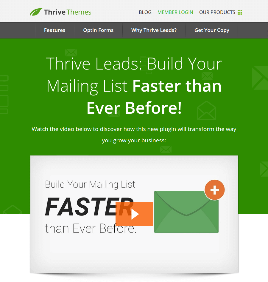 thrive leads landing page above the fold