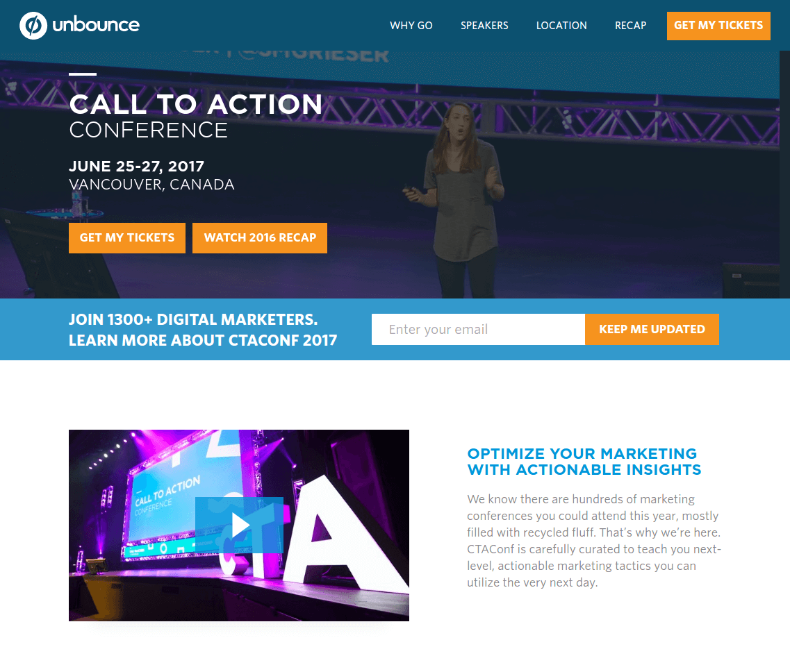 unbounce call to action conference landing page above the fold