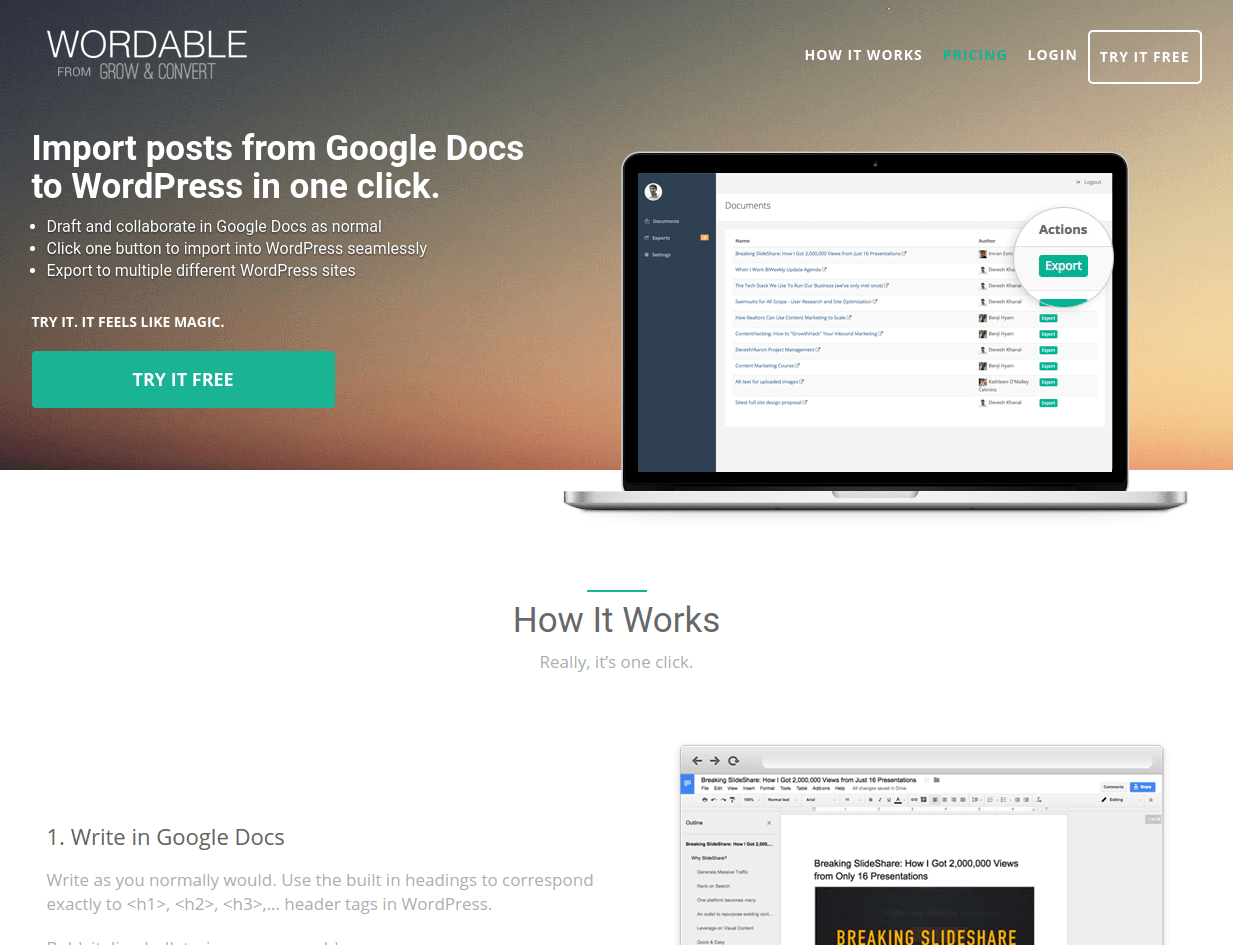 wordable landing page above the fold