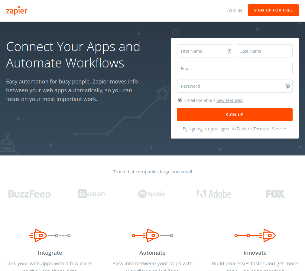 zapier landing page above the fold