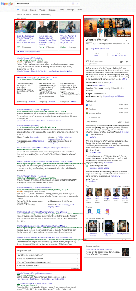 Google SERP rich snippets and knowledge panels
